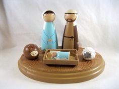 Wood Peg Nativity Set with Stand- the animals crack me up!