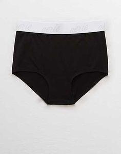 Corona Boy-Cut Womens size M Contrast Trim Brief Panty Blue Yellow Logo Panties