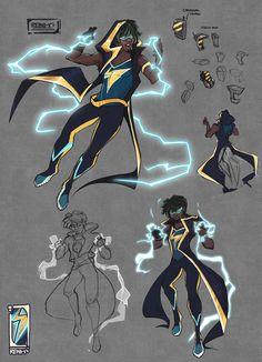 ArtStation - Static Shock Redesign, Reina V Black Anime Characters, Superhero Characters, Dc Comics Characters, Costume Super Hero, Hero Costumes, Black Lightning Static Shock, Comic Books Art, Comic Art, Super Anime