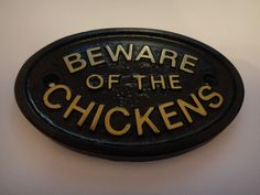 BEWARE OF THE CHICKENS - HOUSE.COOP PLAQUE WALL SIGN GARDEN - BRAND NEW (BLACK)