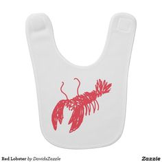Red Lobster Bib  Available on many more clothing products including baby, kids and adults. Search the design name in the search bar on my Zazzle product page to see all products!  #lobster #red #baby #child #toddler #infant #clothing #apparel #fashion #style #chic #zazzle #contemporary #cute #drawing #sketch #illustration #cool #neat #sweet #buy #sale #for