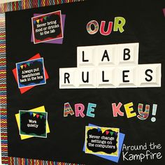 Easy ideas for computer lab decor. Brighten up your lab and run an organized, effective, and cohesive technology classroom! Computer Lab Rules, Computer Lab Decor, Computer Lab Classroom, Computer Teacher, Computer Lessons, Technology Lessons, Teaching Technology, Computer Technology, Computer Science