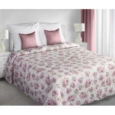 Obojstranné prehozy cez posteľ v krémovej farbe s ružovými ružami