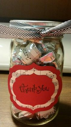 Thank you gift for music teacher, dsp wrapped hershey nuggets in a mason jar Music Teacher Gifts, Teacher Christmas Gifts, Teacher Appreciation Gifts, Teacher Thank You Gifts, Volunteer Appreciation, Christmas Music, Music Crafts, Mason Jar Gifts, Mason Jars