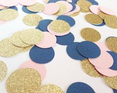 Items similar to Light Pink + Navy Blue + Gold Glitter Confetti - - Wedding. Gold Wedding Colors, Pink And Gold Wedding, Blue Bridal, Trendy Wedding, Dream Wedding, Wedding Ideas, Wedding Themes, Pink Und Gold, Quinceanera Themes