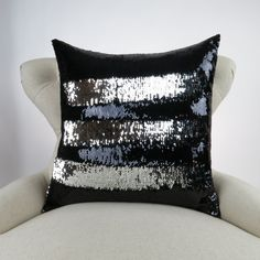 Mermaid Pillow Black and Silver Reversible by DeliciousPillows