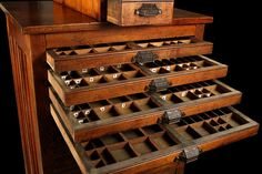 Hamilton Printers Cabinet with 20 drawers and 86 compartments. I have always wonded an antique printer cabinet as a jewelry armoire!!! Anyone have $2,150.00 they'd like to loan me? (plus shipping, of course)
