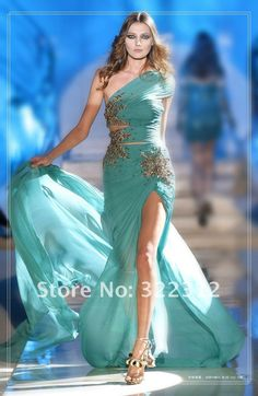 Aliexpress.com : Buy 2013 Zuhair Murad New Arrival Sheath Chiffon One Shoulder Beads Sexy Slit Long Special Occasion Evening Ball Gown Prom Dress from Reliable evening dress suppliers on High Fashion Dress $279.99