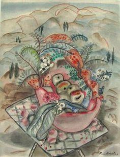 Frances Hodgkins (New Zealand Still Life, pencil and watercolour on… Still Life Artists, New Zealand Art, Nz Art, Contemporary Artwork, Public Art, Watercolours, Impressionist, Art History, Traveling By Yourself