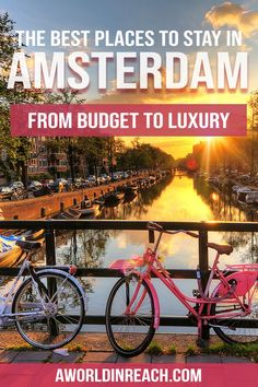 Where to Stay in Amsterdam / Budget Hotels in Amsterdam / Luxury Hotels in Amsterdam / Hostels in Amsterdam / best places to stay in Amsterdam / where to g Europe Destinations, Europe Travel Guide, Budget Travel, Travel Guides, Tour En Amsterdam, Amsterdam Travel, Amsterdam Netherlands, Amsterdam Places To Visit, Cool Places To Visit