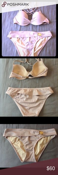 Italian silk V.S. Bikini 34B/S Beige colored bikini in Italian silk from Victoria's Secret. The top is a 34B and the bottoms are a Small. Like new condition. The top has a little ruching on the side and ties in back. The bottoms have gold hardware and are full coverage. Super cute and flattering! Feel free to make an offer! Willing to sell separately for a reasonable price. Victoria's Secret Swim Bikinis
