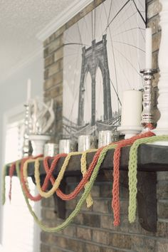 Hurst @ Home: Bringing in a Little More Spring - finger knitted garland Fun Projects For Kids, Crafts For Kids, Arts And Crafts, Diy Crafts, Craft Projects, Finger Knitting Projects, Hand Sewing Projects, Christmas Tree Garland, Christmas Crafts