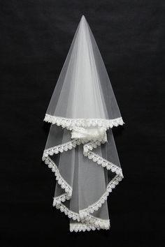 Véus de Noiva Clássico Gaze lacework Laços e Apliques