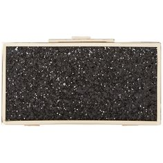 Dune Exquisite Snap Close Box Clutch Bag , Black Glitter (£44) ❤ liked on Polyvore featuring bags, handbags, clutches, black glitter, imitation purses, party handbags, snap closure purse, clasp purse and party purse