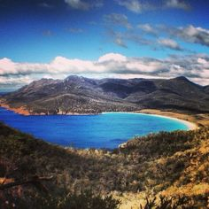 Glorious view of Wineglass Bay in Freycinet National Park in Tasmania