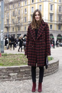Giorgia Tordini at Roberto Cavalli fashion show wearing a Rêve coat . February 2013, Milan.