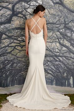 nicole miller spring 2016 bridal spagetti strap scalloped v neckline beaded corded lace sheath wedding dress blake back