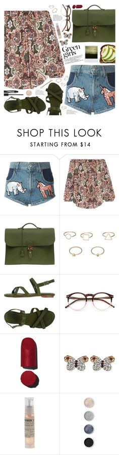 """green girls"" by valentino-lover ❤ liked on Polyvore featuring Au Jour Le Jour, Haute Hippie, Hermès, MANGO, Swamp, Green Girls, Wildfox, Chanel, De Buman and Le Labo"