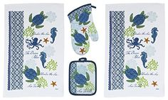 4 Piece Sea Turtle Kitchen Set Oven Mitts and Towels - Beachfront Decor