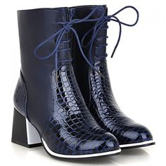 Fashionable Lace-Up and Splice Design Women's Short Boots, BLUE, 37 in Boots | DressLily.com
