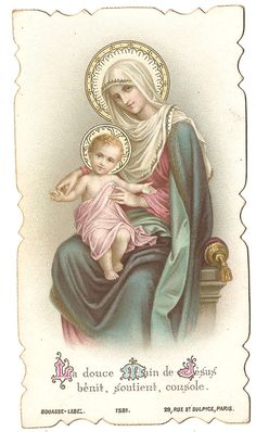 Gentle Hand of Jesus Virgin Mother Mary & Baby by 12StarsVintage