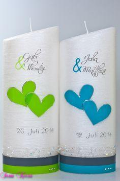 """Hochzeitskerze+""""schlicht""""+oval+abg.+Perlmutt+von+Sannis+Kerzen+nach+Wunsch+auf+DaWanda.com"""