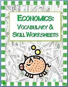 Economics Printables~ Activities include practice using economics vocabulary, calculating profit, and problem-solving kid-friendly business problems. Easy-to-use. Print and go! Five worksheets with full-page answer keys included. #economics #worksheets  $$