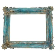 Ornate open-back picture frame. Hand-painted in turquoise and gold.   Product: Picture frameConstruction Material: C...