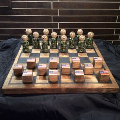 PEG SOLDIER Checker Set by WOODuPlayGames on Etsy