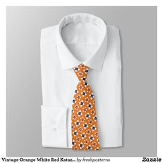 Shop Vintage Orange White Red Katazome Flowers Pattern Neck Tie created by freshpatterns. Flower Patterns, Flower Designs, Print Patterns, Custom Ties, Suit And Tie, Pick One, Traditional Outfits, Vintage Shops, Shop Now