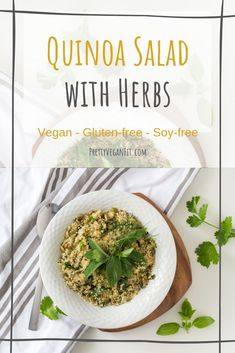 Easy Vegan Quinoa Salad With Herbs - Pretty ~ Vegan ~ Fit Vegan Main Course, Main Course Dishes, Herb Recipes, Vegan Recipes, Vegan Meals, Quinoa Benefits, Mediterranean Quinoa Salad, Good Carbs, Vegan Side Dishes