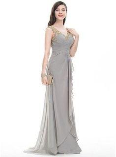 A-Line Princess V neck Sweep Train Chiffon Prom Dress With Ruffle Beading Sequins