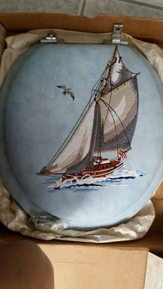 Vintage Cloud Soft Vinyl Nautical Blue Embroidered Toilet Seat Standard Size NEW #CloudSoft