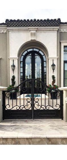 Ideas For House Front Door Entrance Wrought Iron House Front Gate, Iron Front Door, Iron Doors, Front Entry, Best Front Doors, Iron Gates, Tor Design, Gate Design, House Design