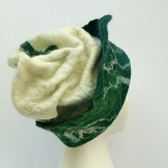 99de12886d3 Green and cream felted wool hat.