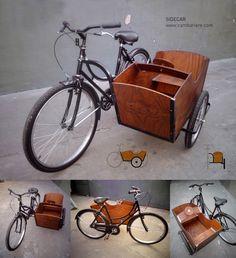 Bike Sidecar - Part Deux Bici Retro, Velo Retro, Velo Vintage, Vintage Bicycles, Cool Bicycles, Cool Bikes, Bicycle Sidecar, Velo Cargo, Cargo Rack
