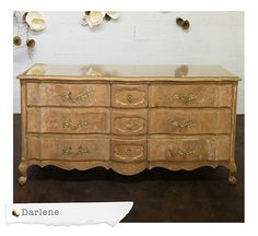 Our Darlene Dresser Features Light Distressed Wood With Gold Detail.  Dimensions: X X Quantity: 1. Dressers Bars And Armoires