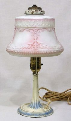 Vintage 1920s Table Lamp Embossed Pink Satin Glass Shade and Painted Iron Base