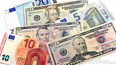 Original photo euro and dollars banknotes mix