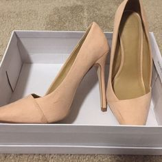 Asos Pensive High Heel Suede-like, pointed toe pump in color Apricot ASOS Shoes Heels