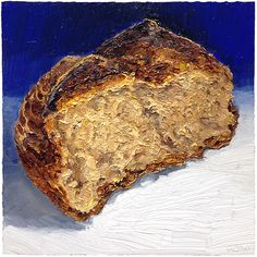 Multigrain Sourdough Bread - 8x8, oil on wood painting of bread for upcoming food exhibition!  Available for sale.  #bread #breadart #breadpainting #painting