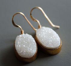 Snow White Druzy Earrings Agate Geode Earrings Gold by OhKuol.