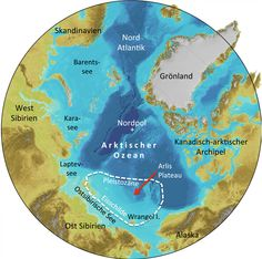 A map of the #Arctic showing the location of the thick East Siberia #icesheet.