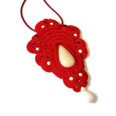 Red soutache pendant  Czerwony wisior sutasz
