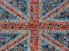 Union Jack postage stamp art