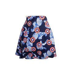 Captain America Skater Skirt ($25) ❤ liked on Polyvore featuring skirts, black, women's clothing, high rise skirts, black flared skirt, black knee length skirt, skater skirt and high waisted circle skirt