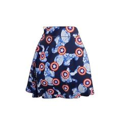 Captain America Skater Skirt ($25) ❤ liked on Polyvore featuring skirts, black, women's clothing, black skirt, circle skirt, flared skirt, skater skirt and black skater skirt