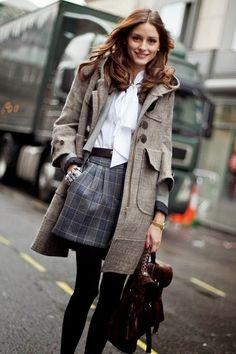 What would Olivia Palermo wear para combinar unos shorts en invierno