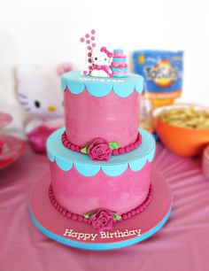 This is so cute!  I want to make one of these for my birthday :-). Hello Kitty pink and turquoise birthday cake