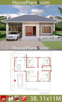 Simple House Design Plans 11x11 with 3 Bedrooms Full Plans - House Plans Sam
